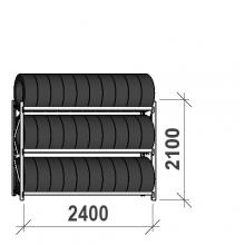 Däckställ startsektion 2100x2400x500, 3 hyllplan,300kg/plan