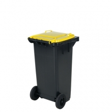 Avfallskärl 120L, svart/gul