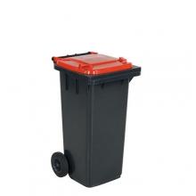 Avfallskärl 120L, svart/röd
