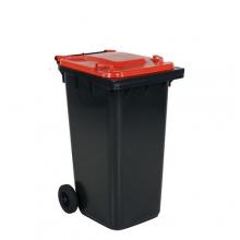 Avfallskärl 240L, svart/röd
