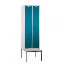 Klädskåp med bänk, 2 dörrar, 610x810x2090mm
