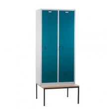 Klädskåp med bänk, 2 dörrar, 810x810x2090mm
