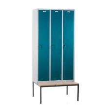 Klädskåp med bänk, 3 dörrar 900x810x2090mm