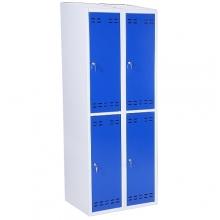 Klädskåp, blå/grå 4 dörr 1920x700x550