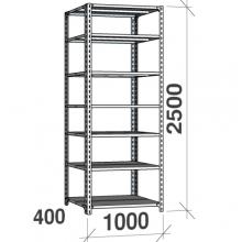 Metallhylla 2500x1000x400, 7 hyllor, 120kg/hyllplan, grå Gavel/Hyllplan galvad