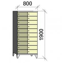 Klädskåp, 20 dörrar, 1900x800x545 mm