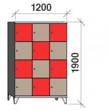 Klädskåp, 12 dörrar, 1900x1200x545 mm
