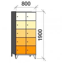 Klädskåp, 10 dörrar, 1900x800x545 mm