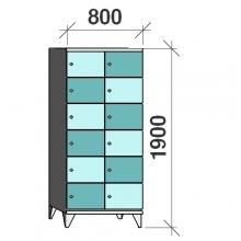 Klädskåp, 12 dörrar, 1900x800x545 mm