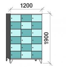 Klädskåp, 18 dörrar, 1900x1200x545 mm