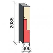 Z-skåp, 2 dörrar, 2085x300x545, sluttande topp