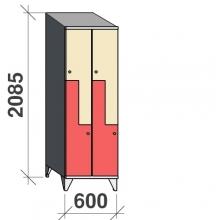 Z-skåp, 4 dörrar, 2085x600x545, sluttande topp