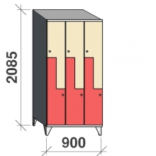 Z-skåp, 6 dörrar, 2085x900x545, sluttande topp