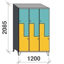 Z-skåp, 6 dörrar, 2085x1200x545, sluttande topp