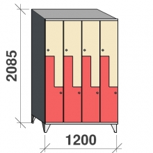 Z-skåp, 8 dörrar, 2085x1200x545, sluttande topp