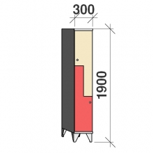 Z- Metallskåp, 2 dörrar, 1900x300x545
