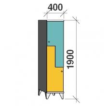 Z- Metallskåp, 2 dörrar, 1900x400x545