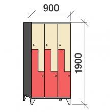 Z- Metallskåp, 6 dörrar, 1900x900x545