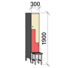 Z-locker 1900x300x845, 2 doors, with bench