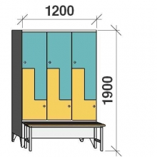 Z-locker 1900x1200x845, 6 doors, with bench